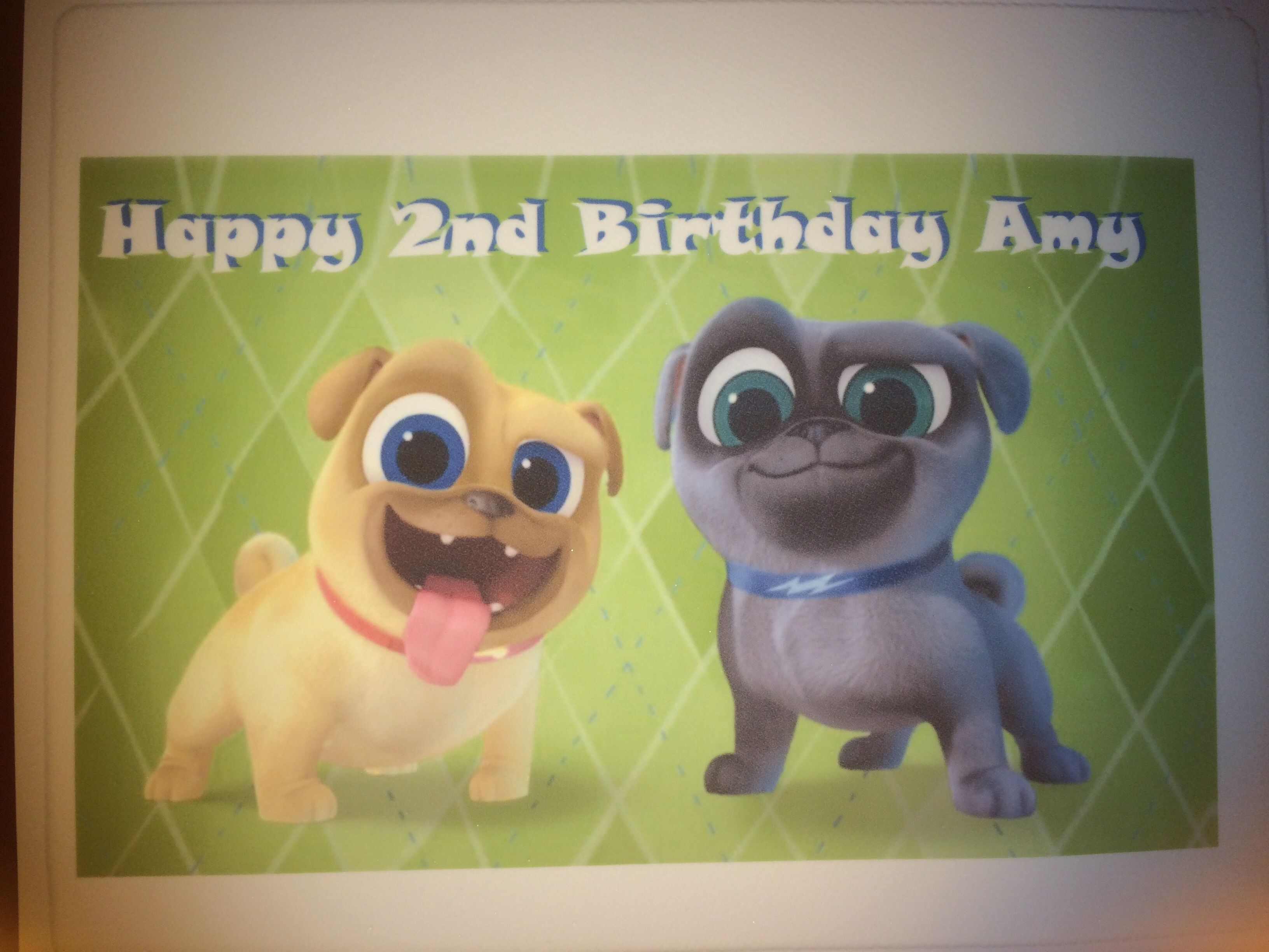 Just created this puppy dog pals edible cake topper for a