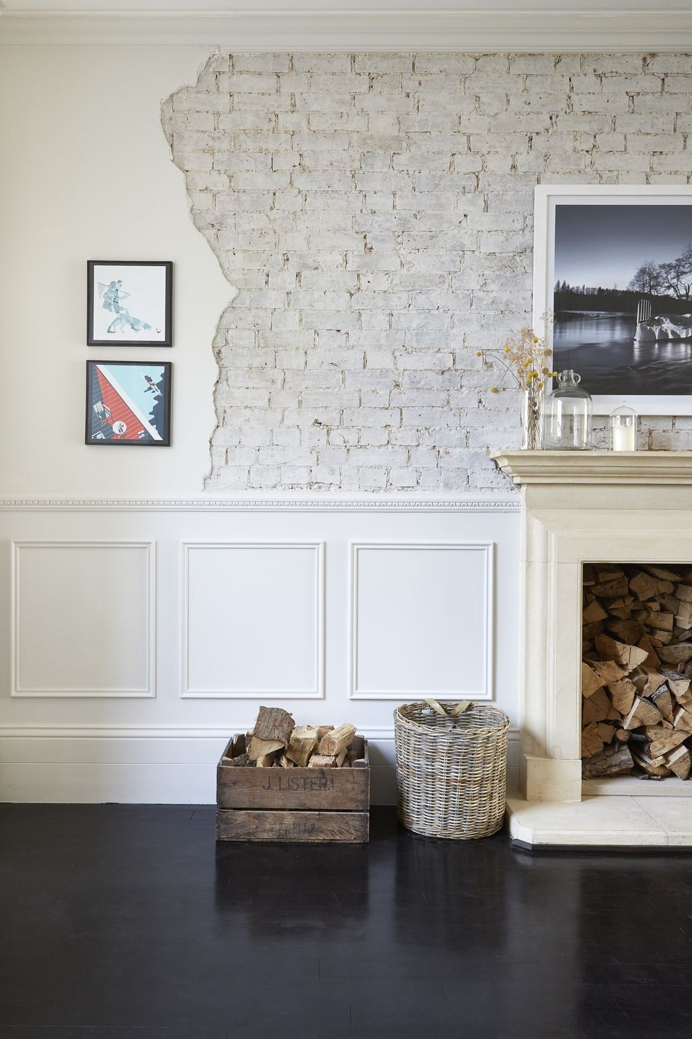 exposed brick and jagged edge with panelled half | livingroom ...