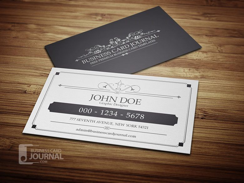 Classy Elegant Vintage Business Card Template In Black White
