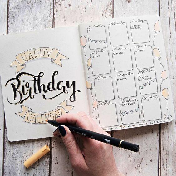 7 pages d'anniversaires pour votre Bullet journal - Lisly s world