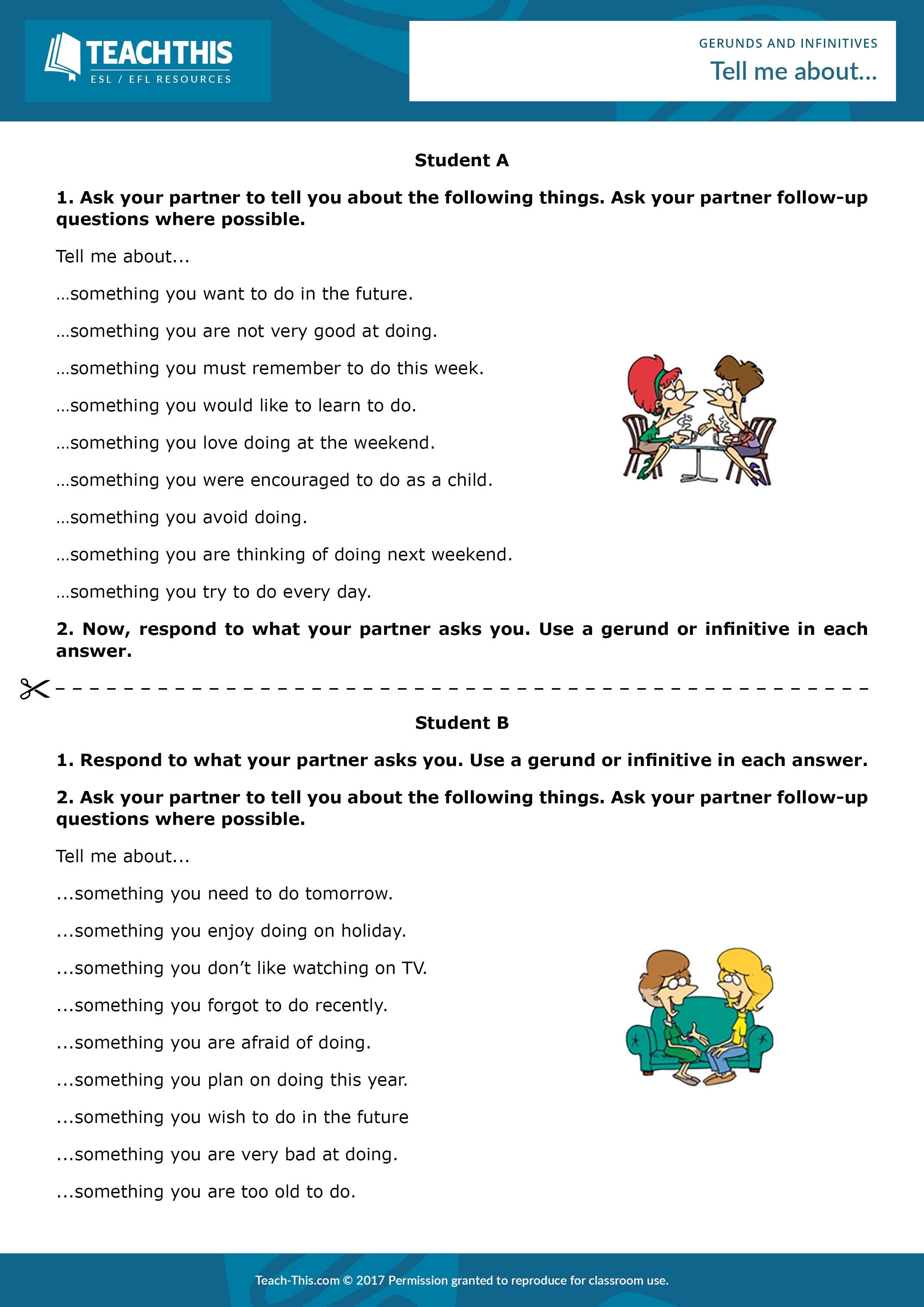 Gerunds and Infinitives | English teaching | Pinterest | Activities ...
