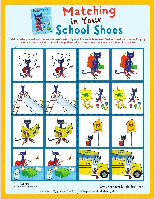 Pete Matching | Kindergarten BOOK THEME ACTIVITIES | Pinterest | Cat ...