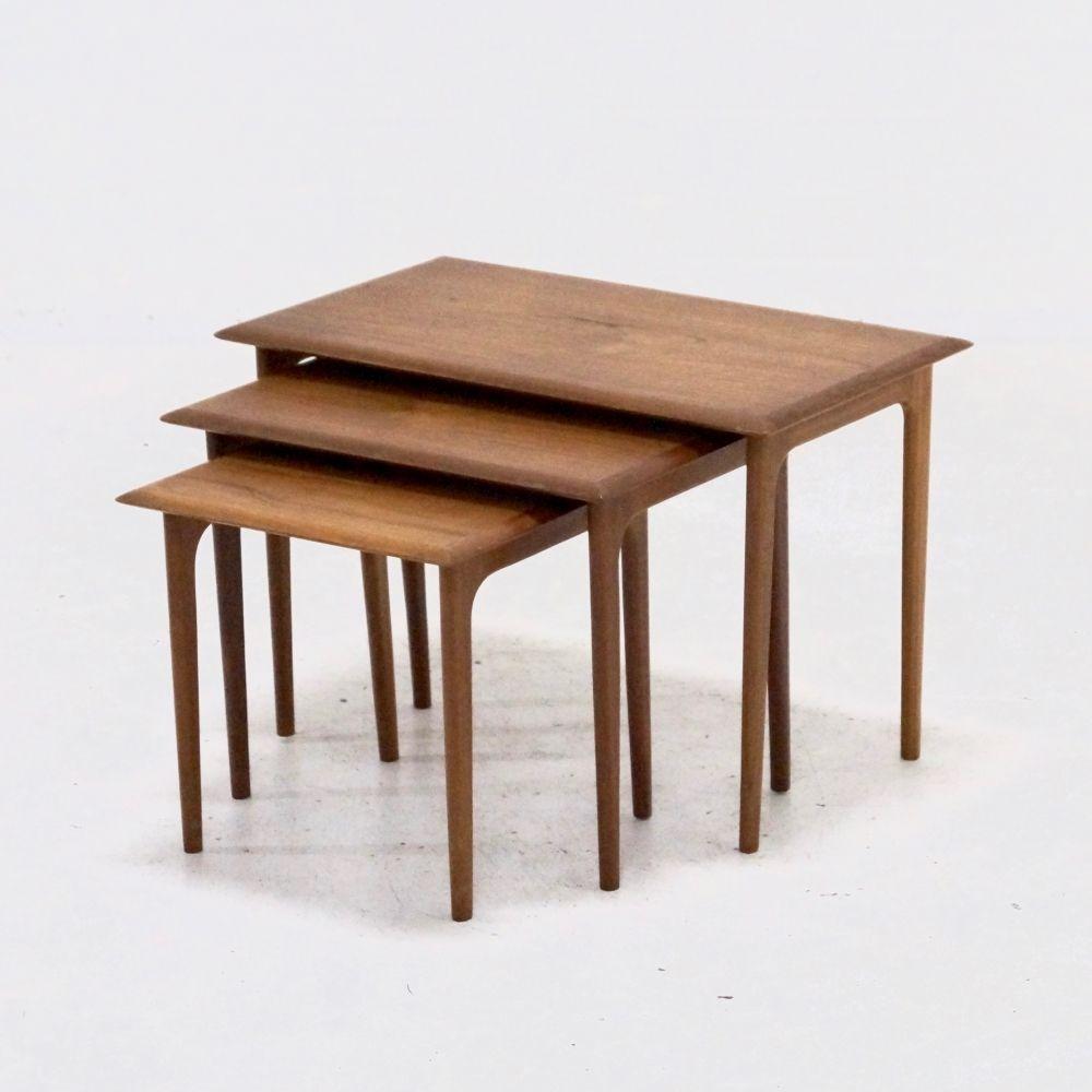 Set Of 3 Mid Century Teak Nesting Tables Danish Design 1960s
