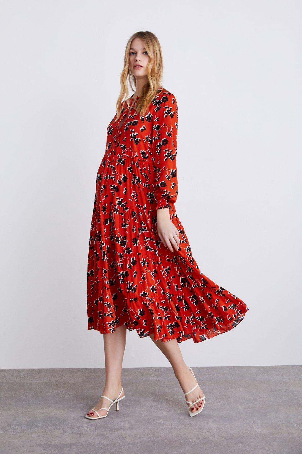 Vestido Estampado Floral Rotes Midi Kleid Kleider Rotes Blumen Kleid