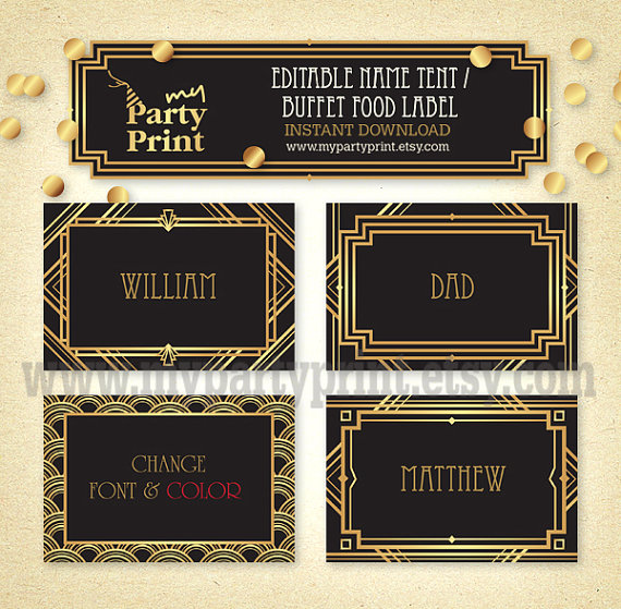 editable great gatsby 20s party name tent wedding place card