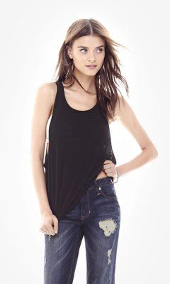 BLACK ONE ELEVEN HI-LO MUSCLE TANK from EXPRESS