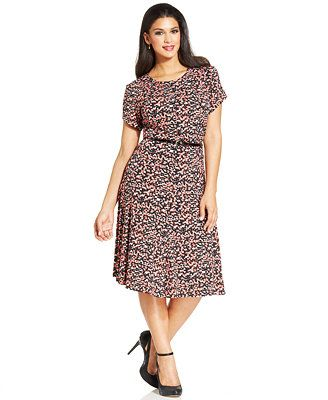 Jessica Howard Plus Size Digital-Print Belted Dress