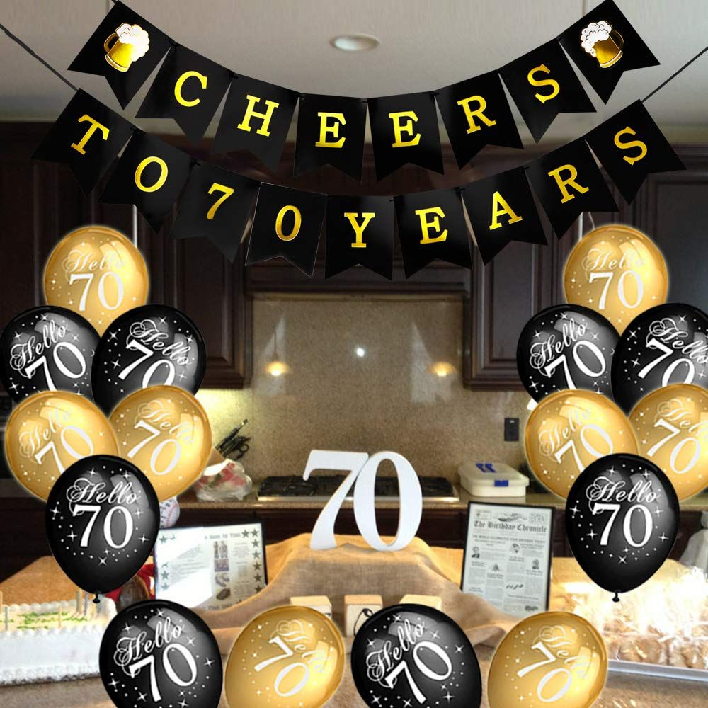 Konsait 70th Birthday Party Decorations Kit Cheers To 70th