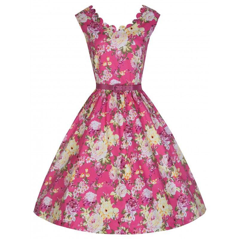 Šaty Lindy Bop Daria Pink Floral Retro šaty ve stylu 50. let. Nádherné šaty  v letním květinovém potisku vhodné na svatební či zahradní slavnost nebo ... 05dff8f7a7