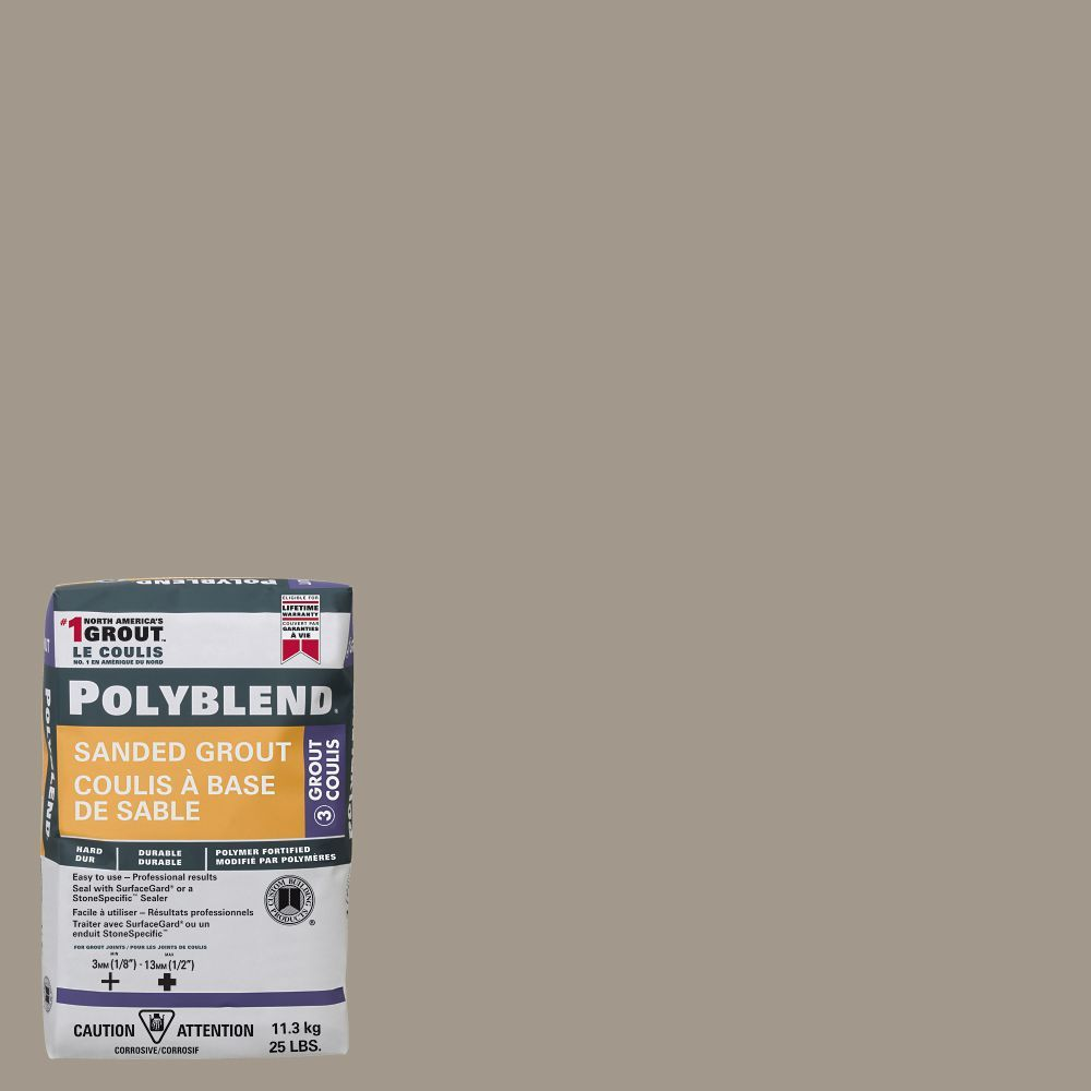 386 Oyster Gray Polyblend Sanded Grout 25lb Sanded Grout
