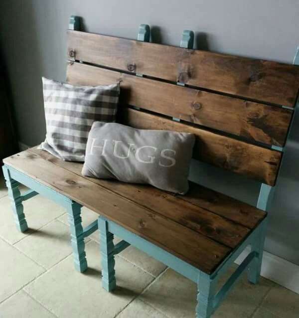 Fantastic Two Second Hand Chairs Made Into A Bench Backyard Diy Evergreenethics Interior Chair Design Evergreenethicsorg