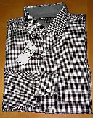 Men/'s Saks Fifth Avenue Red Dress Shirt Trim Fit Plaid Charcoal 14.5 to 17.5 NEW