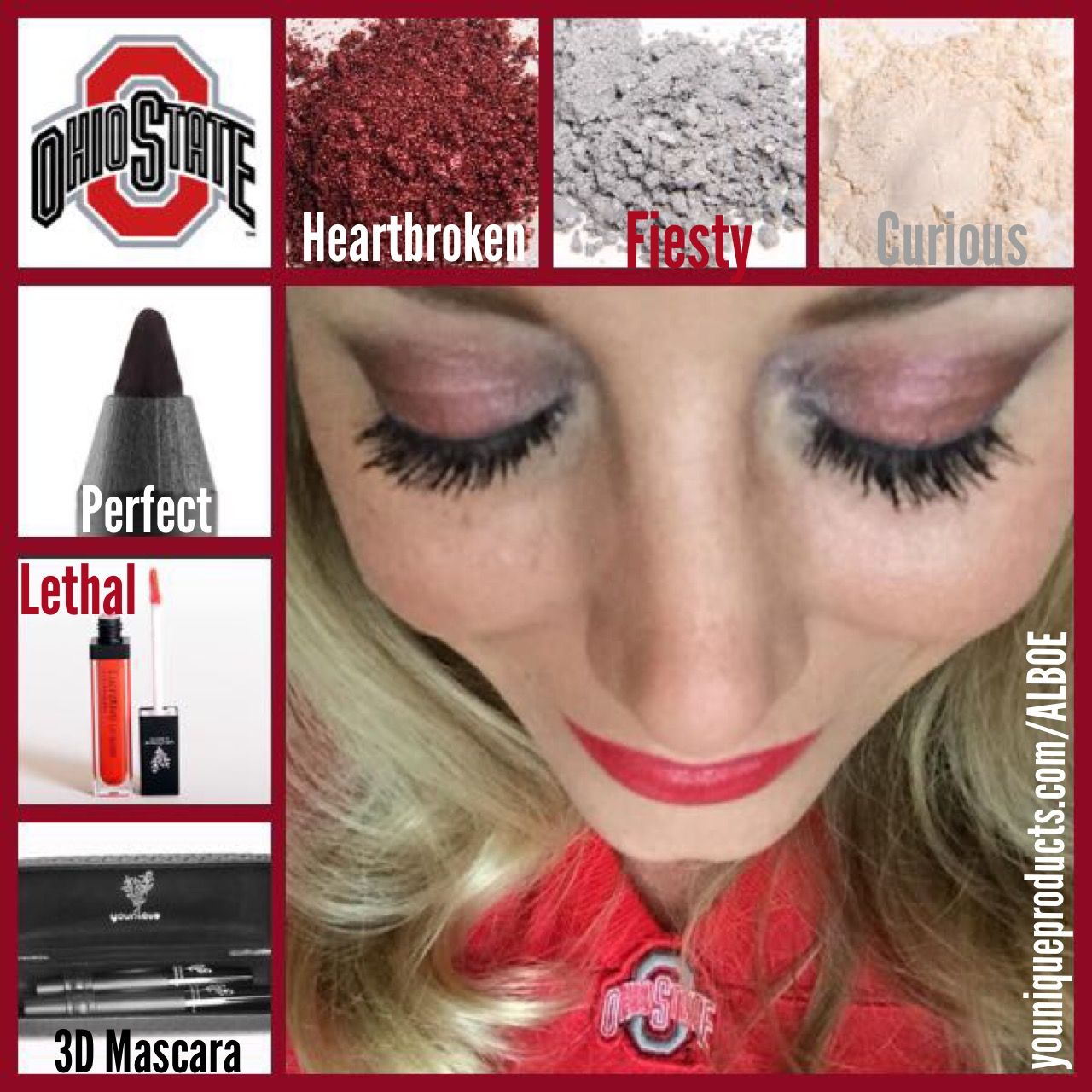 OSU buckeye matching game face using Younique mineral pigments, liners & lip gloss  #osu #buckeyes #ohiostate #younique