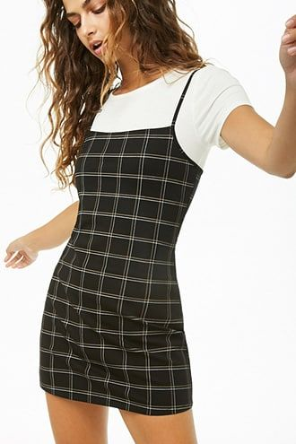 5659bc0f3ab4 Plaid Mini Cami Dress in 2019 | Shop the look products | Dresses ...