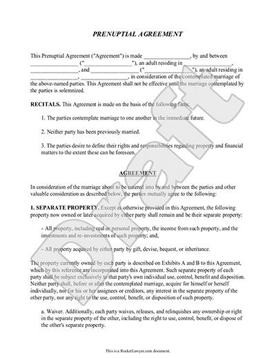 Prenuptial Agreement Form - with Sample Prenup Agreement - sample