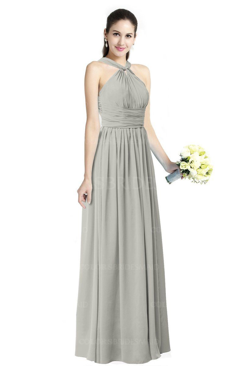 c5e591d3a5 Platinum Simple Halter Criss-cross Straps Chiffon Floor Length Plus Size  Bridesmaid Dresses (Style D44787)
