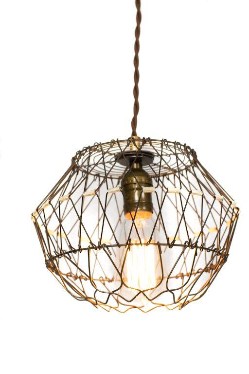 Collapsible Vintage Wire Egg Basket Pendant Light   lights ...