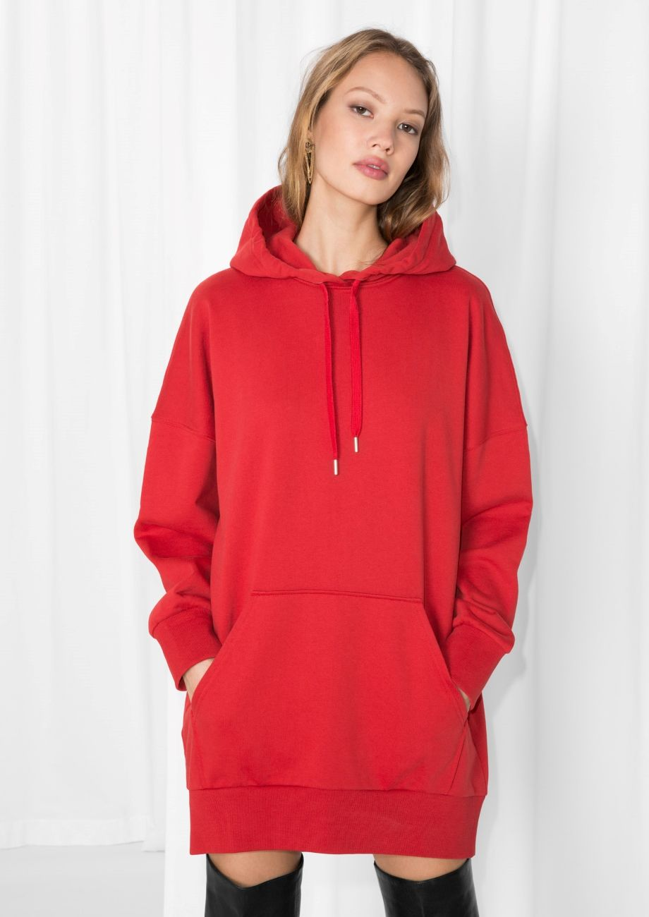76e7d72326f   Other Stories image 1 of Oversized Hoodie Dress in Red