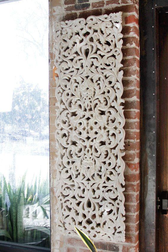 Panel Tallado Floral Arte De La Pared Tallada Carved Wall Art Carved Wood Wall Art Anthropologie Decor