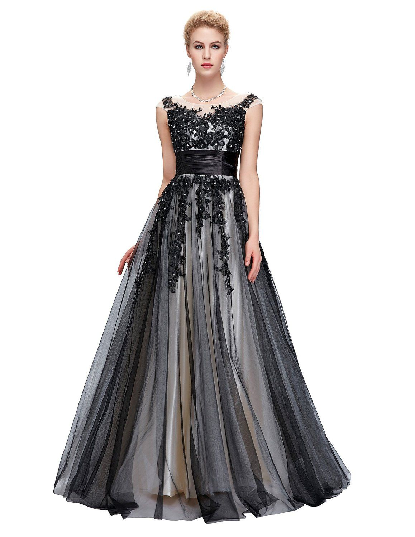 GRACE KARIN® Damen Elegant Abendkleider lang Rund-Ausschnitt ...
