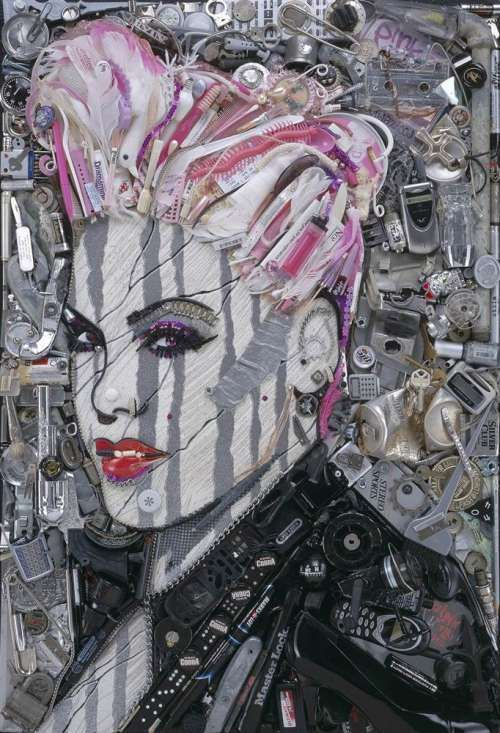 Recycled Celebrities Photos Artwork Artist And Artsy - 24 amazing celebrity portraits made using unusual materials