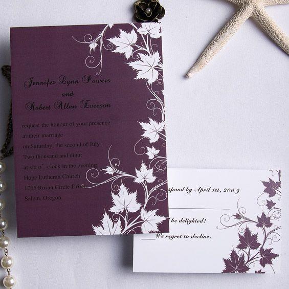 Cheap Print Your Own Wedding Invitations: Cheap Retro Plum Maple Flowers Fall Wedding Cards EWI169