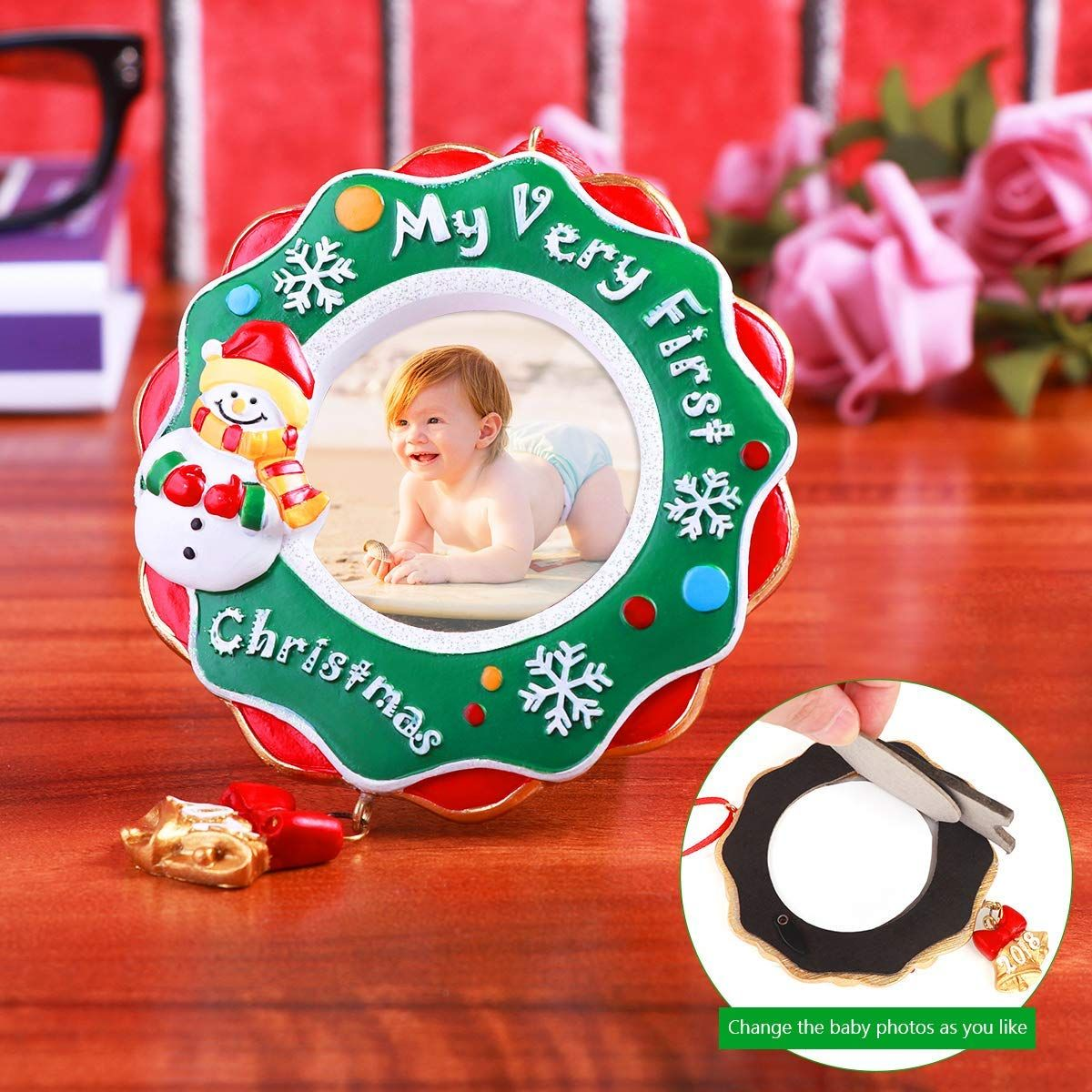 Amazon Com Unomor 2018 My Very First Christmas Ornament Baby S First Picture F Baby First Christmas Ornament First Christmas Ornament Christmas Picture Frames