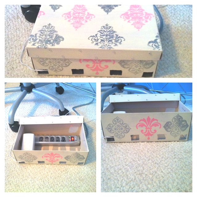 diy extension cord cover made of a shoe box decorate it and make holes for the plugs diy. Black Bedroom Furniture Sets. Home Design Ideas