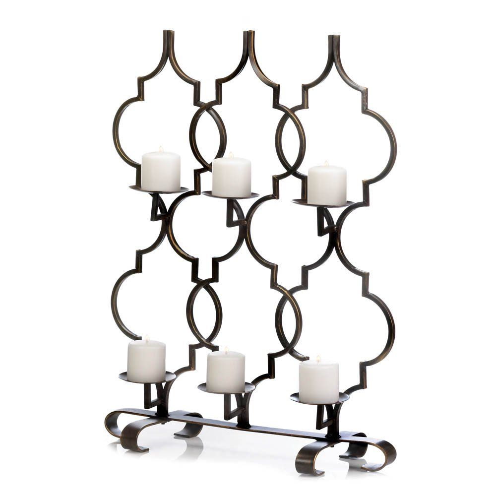 Moroccan trellis candleholder iron indoor and lights