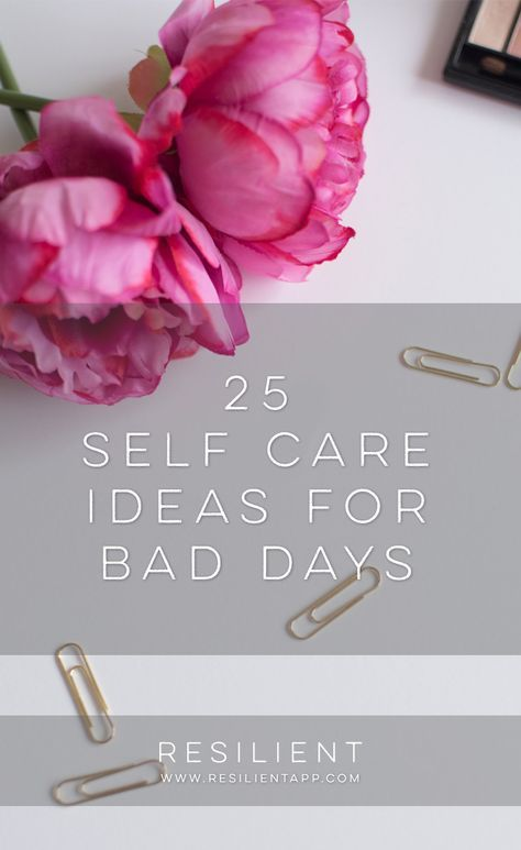 When bad days strike, it's nice to have a list of self care ideas you can pull out to help make things a little better, or even to proactively keep up with self care so you feel better in general. Here are 25 self care ideas for bad days. Feel free to bookmark this page for future reference! #selfcare #selfcareideas #selflove #selfcaretips