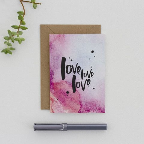 Hand Lettered 'Love Love Love' Valentine's Card