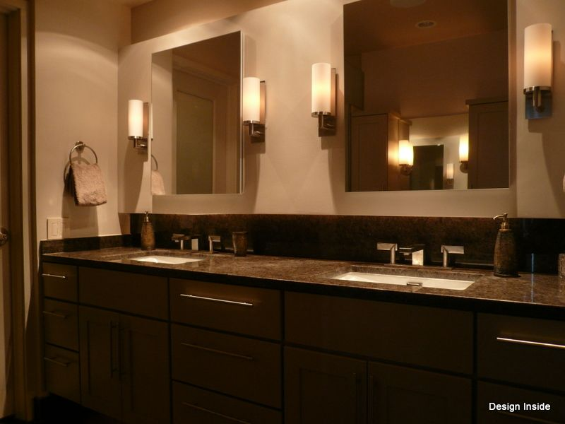 nutone cabinets + wall sconces Completed master bathroom ...