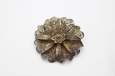 Vintage 800 Silver Larger Filigree Flower Brooch Odd Marks P180