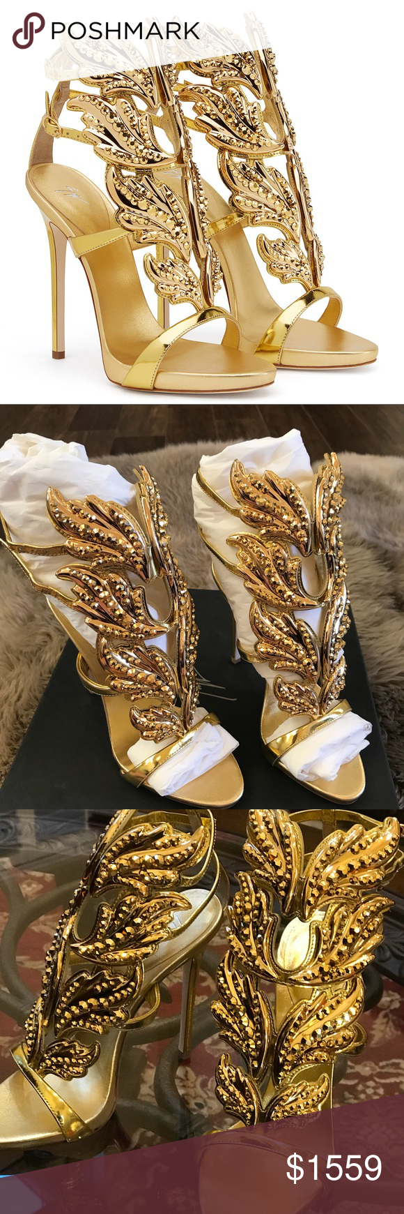 e658d9699880 New Giuseppe Zanotti Cruel Gold Crystal Wing 37 EU Authentic 120mm heel  (4.7 inch) with 10mm (0.4 inch) internal platform Mirrored gold patent  leather upper ...