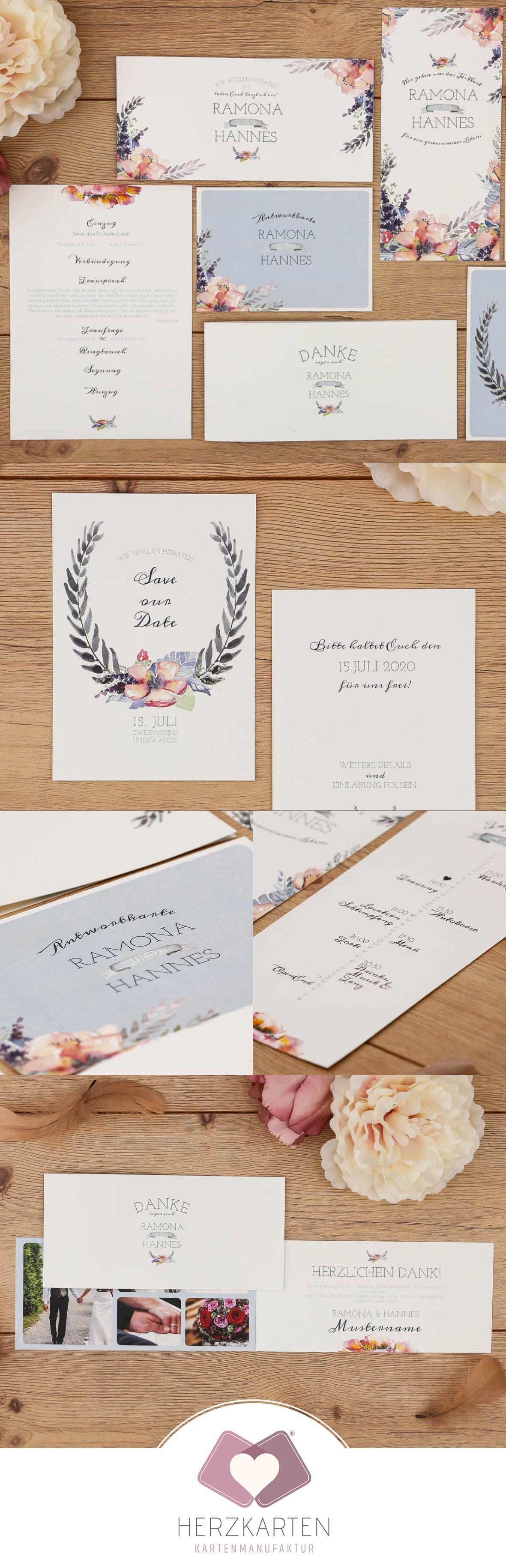 """Die Einladungskarte iaus der Serie """"Wild Rose"""" - handgemalte ... - Einladungskarten Hochzeit Rosen"""