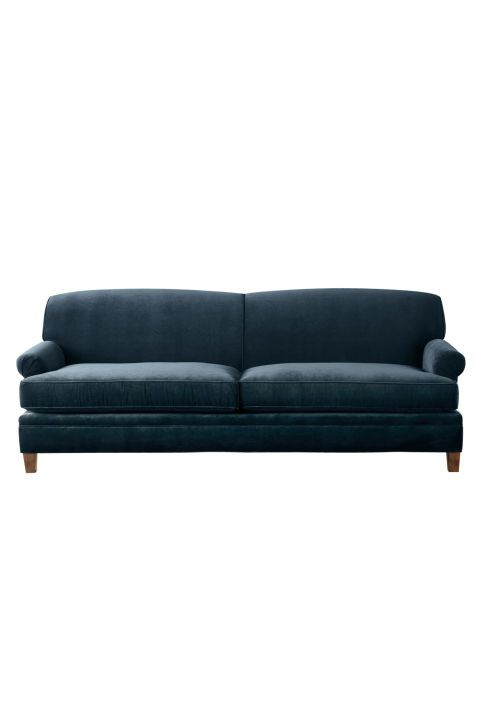 Carmine Sofa In Lagoon Velvet With Washed Oak Finish 2 500 And Up Maidenhome There S Clic Attention To Detail Built Fan Pleated English Roll