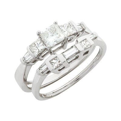 T W Princess Cut And Baguette Diamond Bridal Set In 14k White Gold