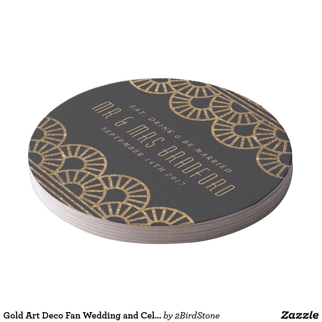 Gold art deco fan wedding and celebration coasters youure