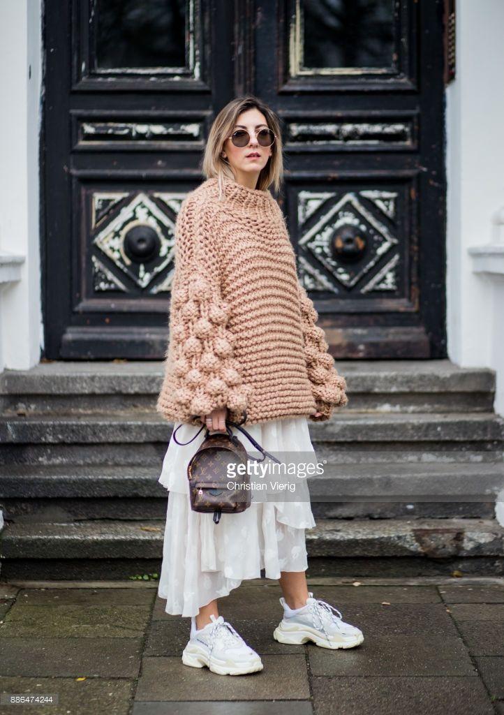 Aylin Koenig Wearing A Beige Knit From Moms Handmade White