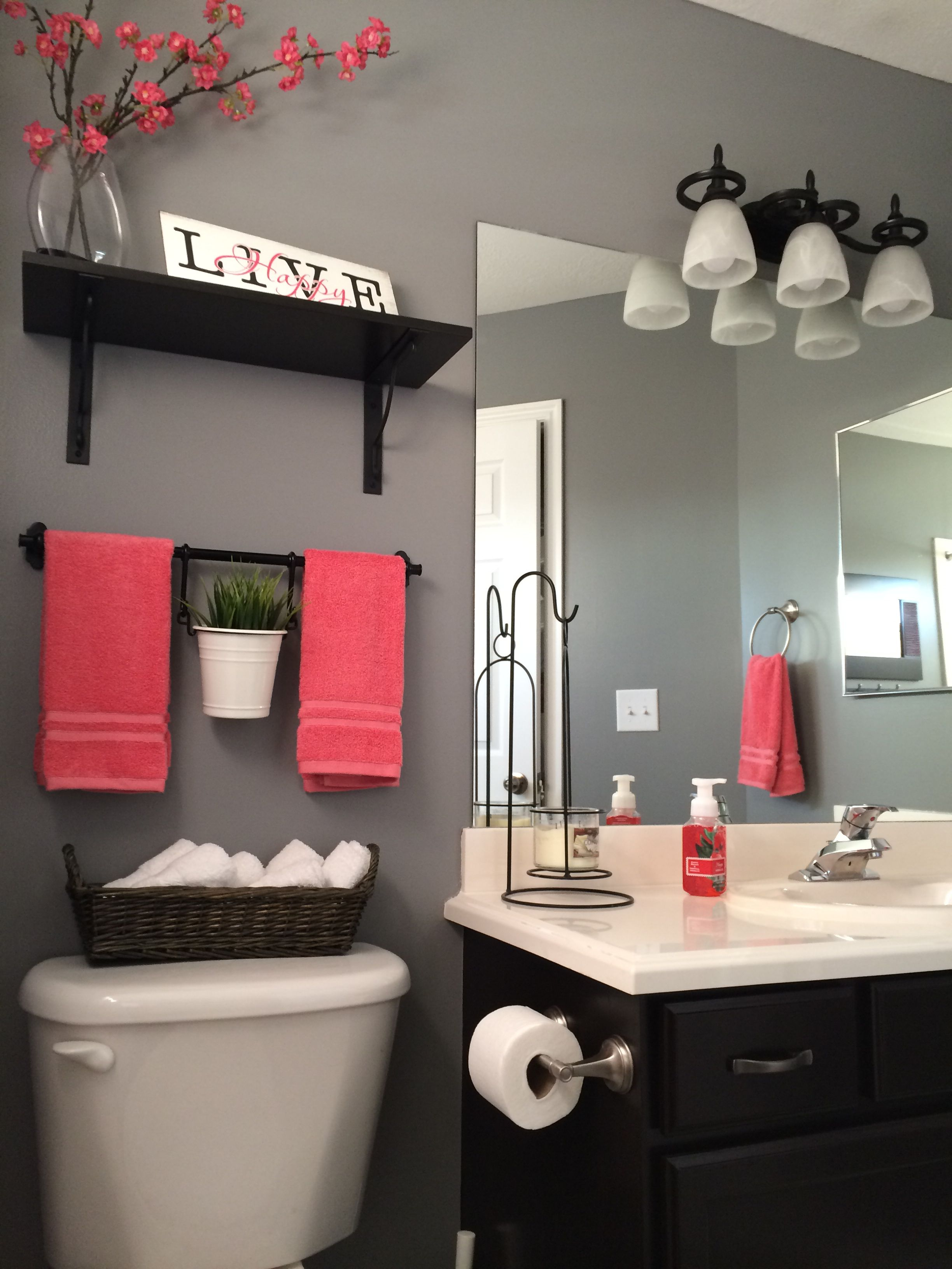 My bathroom remodel. Love it!!! Kohls towels Kohls shower curtain Home Depot