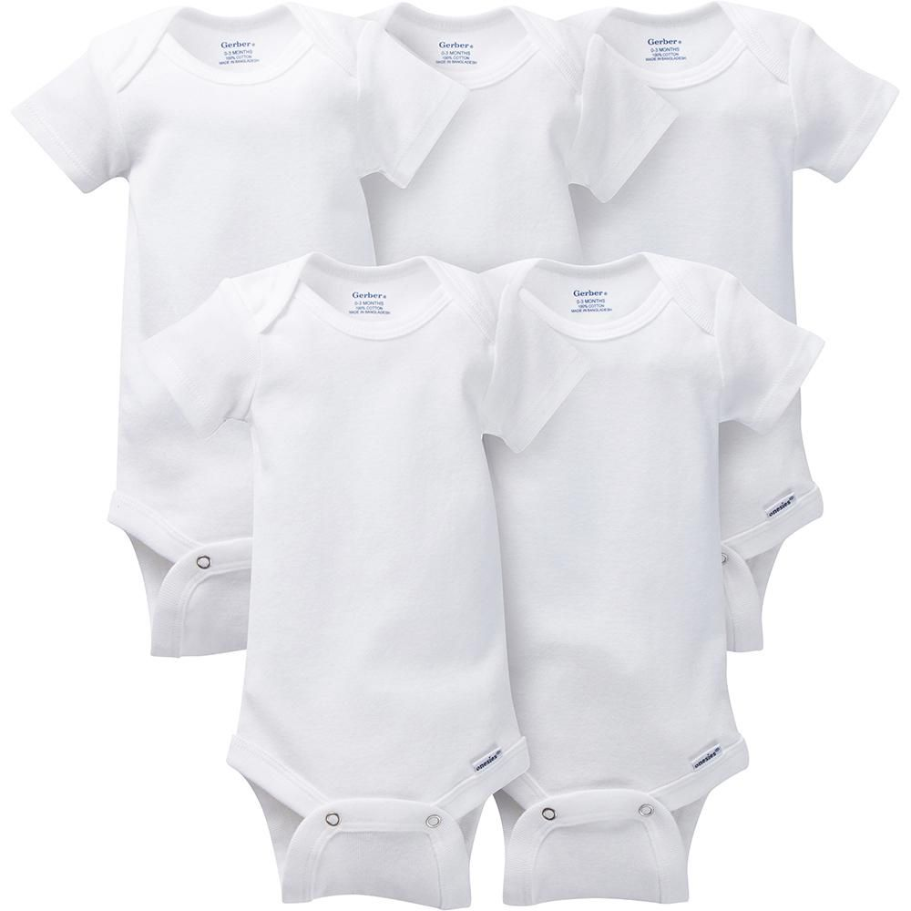 5-Pack White Onesies® Brand Short Sleeve Bodysuits