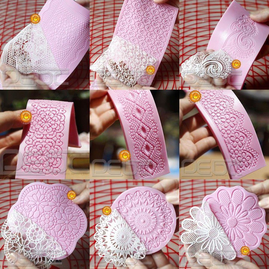 Lace Shaped Silicone Mold Mould Fondant Cake Decoration Baking Tools 9 Patterns | eBay
