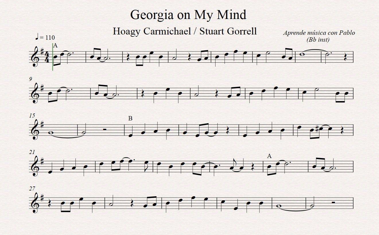 Georgia on my mind bb inst clarinete trompeta saxo soprano georgia on my mind bb inst clarinete trompeta saxo sopranotenor hexwebz Image collections