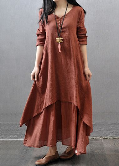 Casual Colorful Maxi Dresses with Sleeves