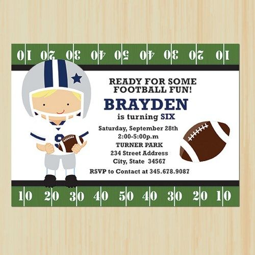 Dallas Cowboys Nfl Youth Boy Birthday Printable Invitation