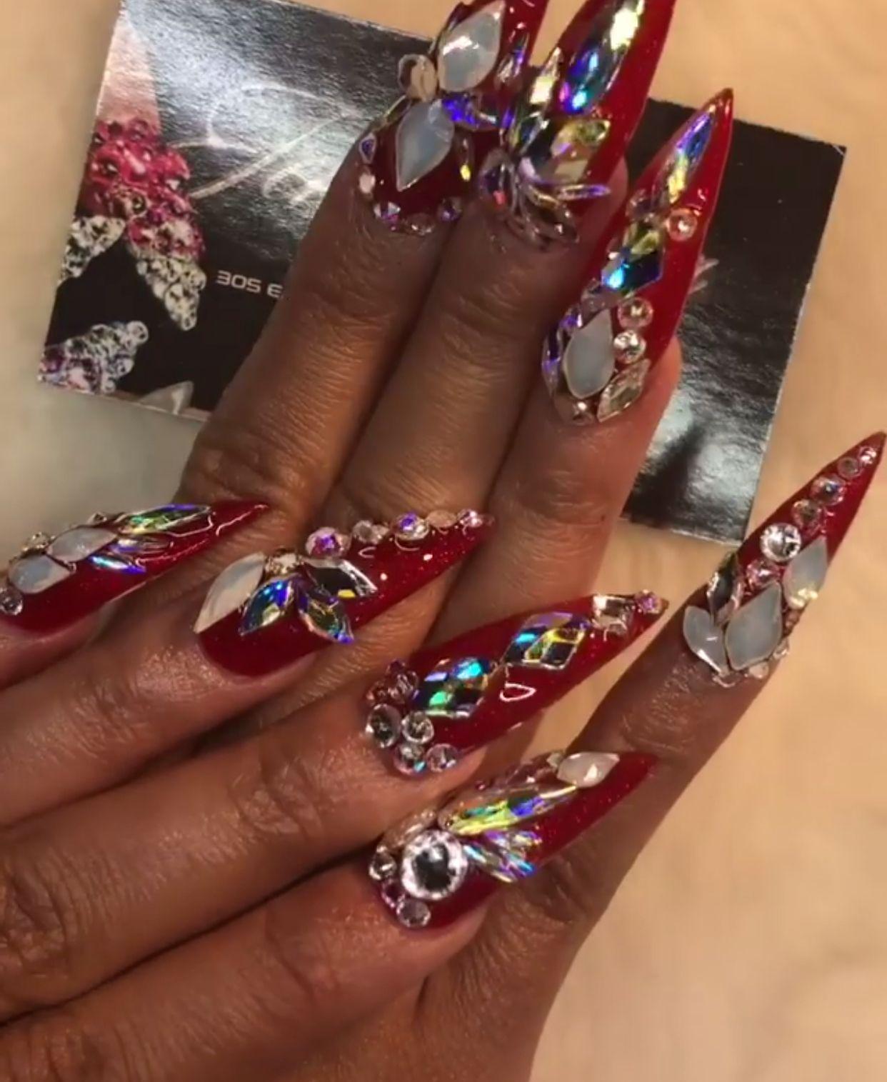 Cardi B Nails: Red Nails, Nails