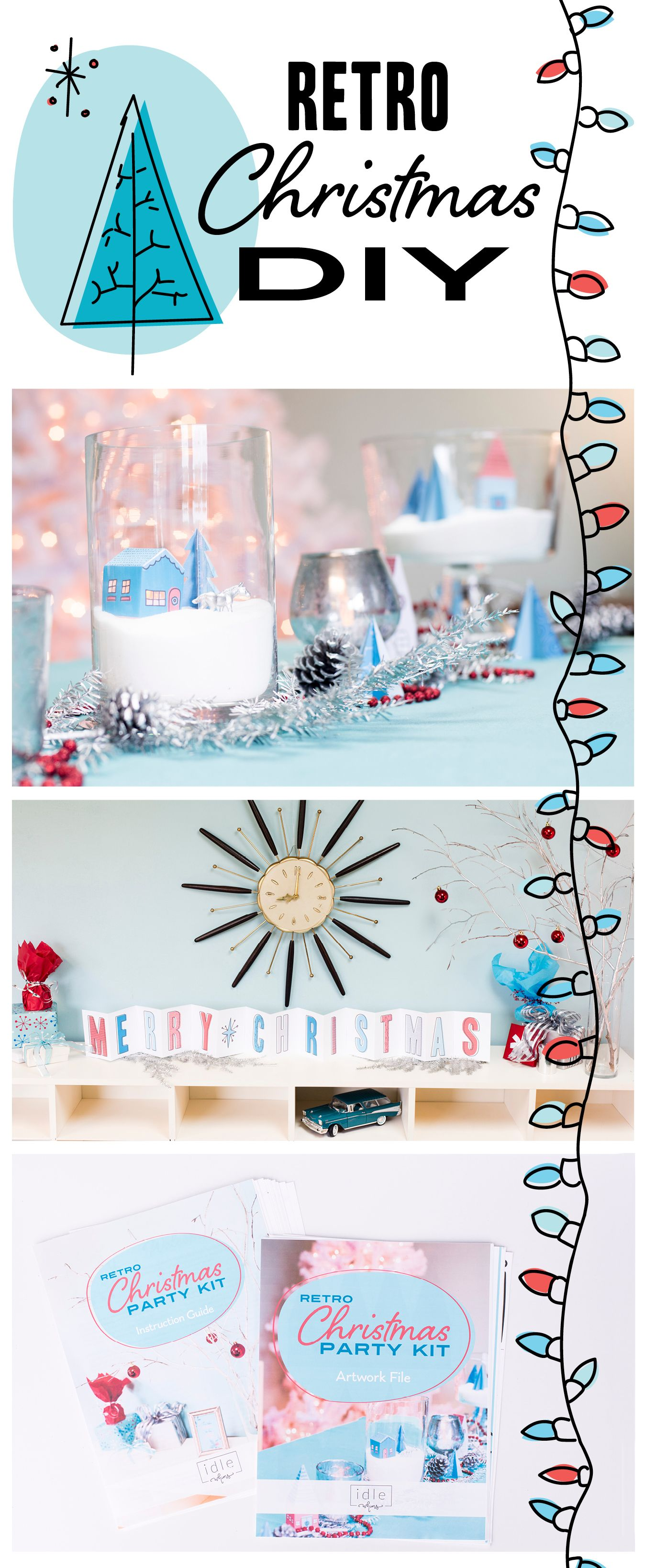 Retro Christmas Party Ideas Part - 44: Retro Christmas Party Kit Includes: Tablescape DIY Ideas And Downloadable  Artwork; Ideas And Printables