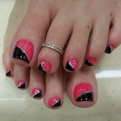 pink and black toe nail art design