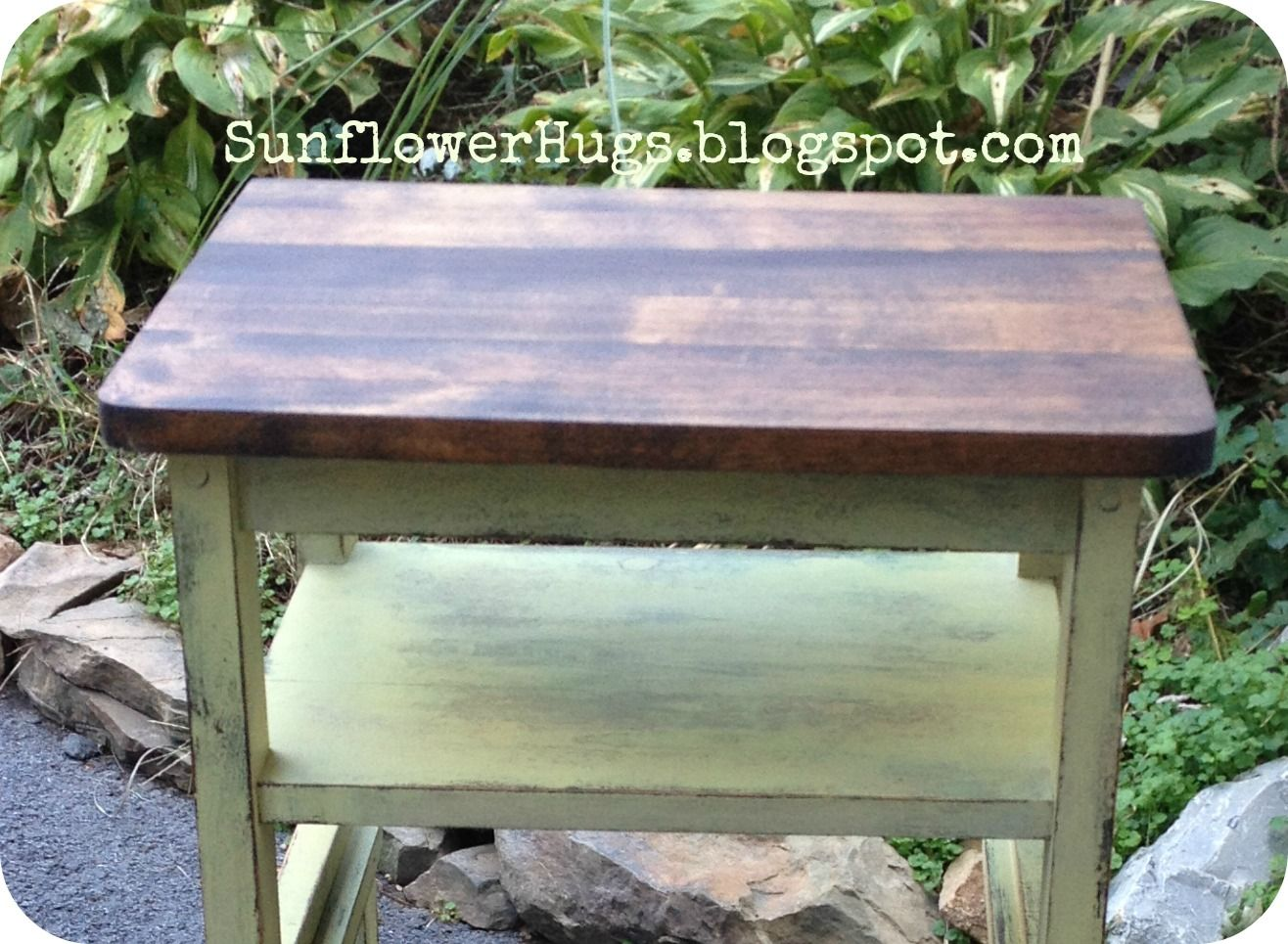 Sage Green Table Stain Top Of The Dark Walnut With Behr Outback Color
