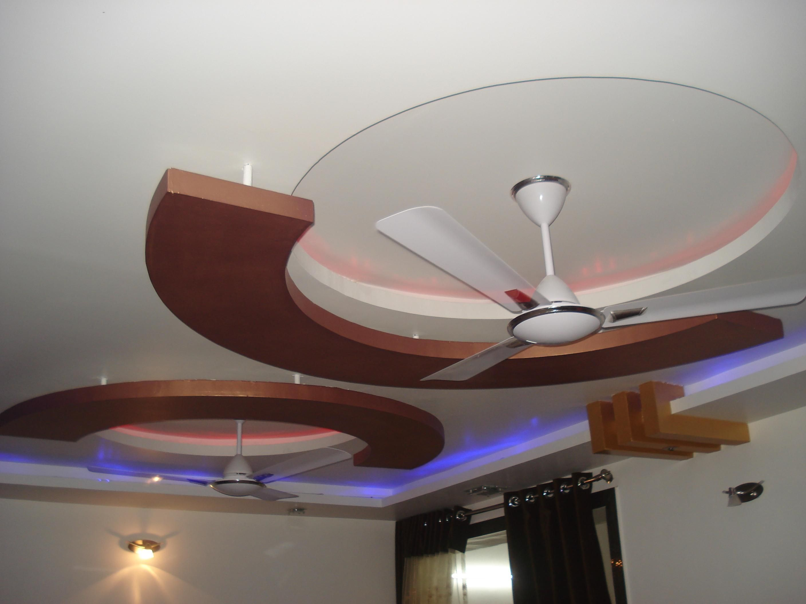 Pop Ceiling Design For Hall With 2 Fans